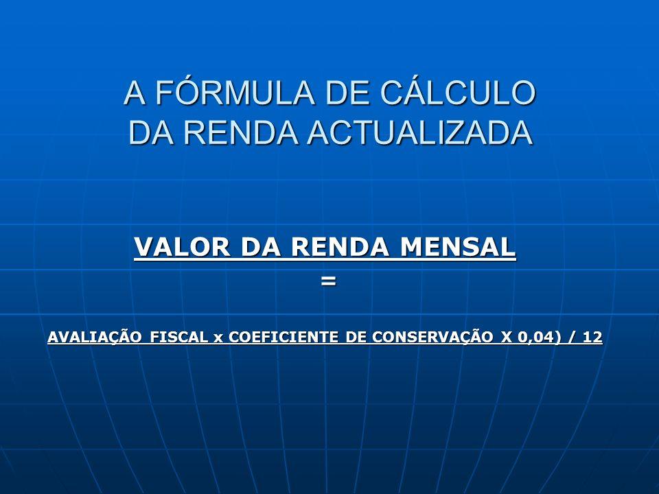A FÓRMULA DE CÁLCULO DA RENDA ACTUALIZADA
