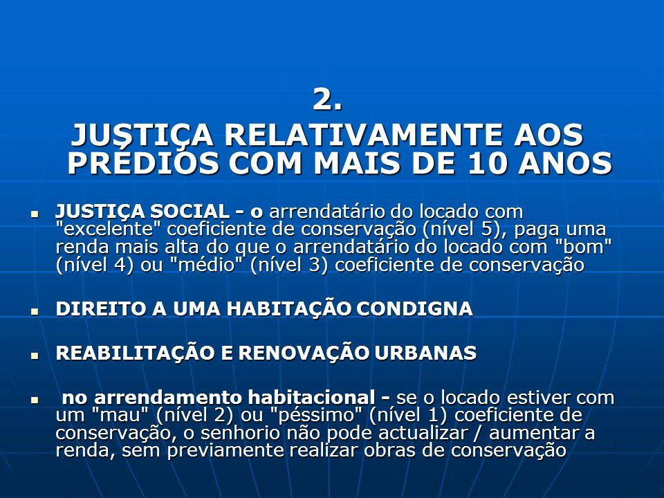 JUSTIÇA RELATIVAMENTE AOS PRÉDIOS COM MAIS DE 10 ANOS