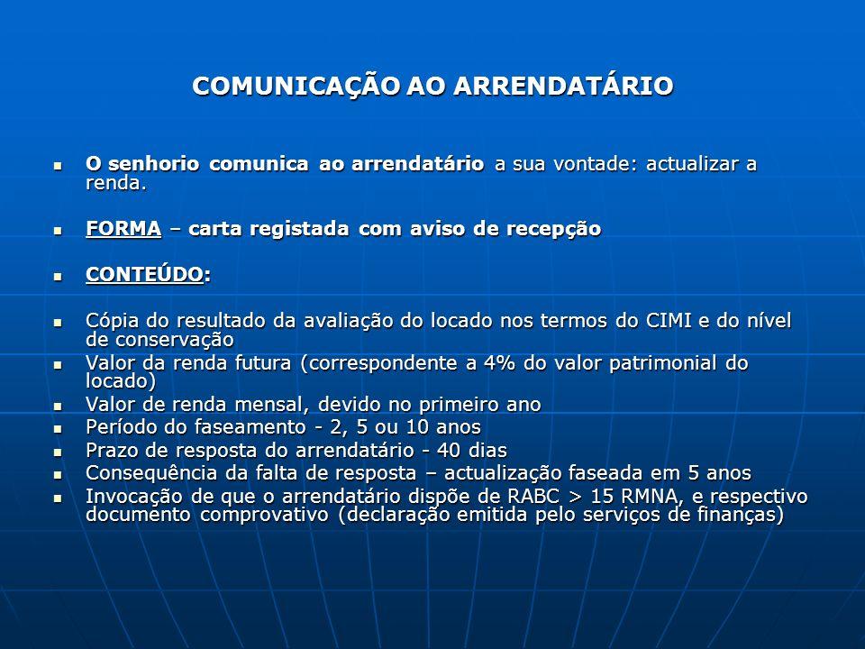 COMUNICAÇÃO AO ARRENDATÁRIO