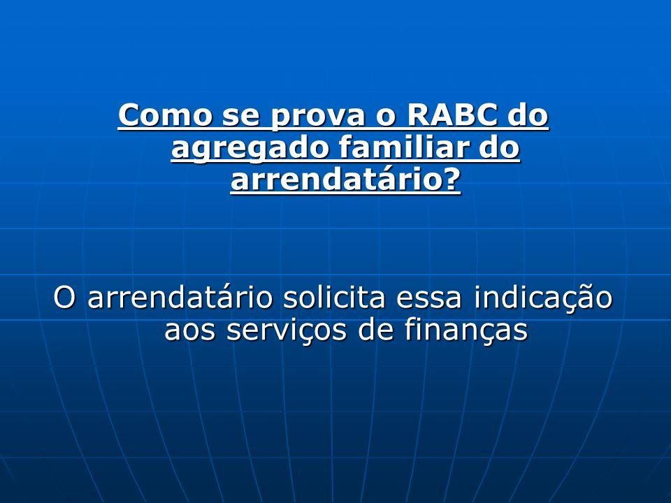 Como se prova o RABC do agregado familiar do arrendatário