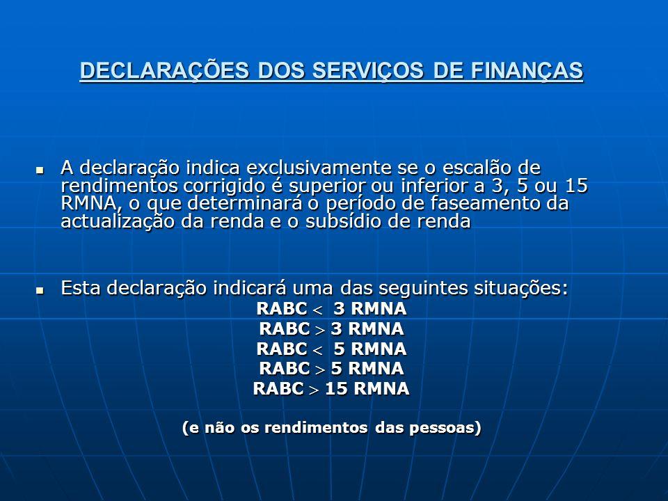 DECLARAÇÕES DOS SERVIÇOS DE FINANÇAS