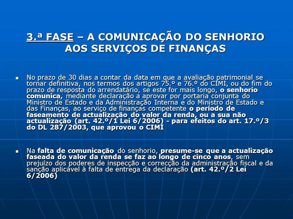 3.ª FASE – A COMUNICAÇÃO DO SENHORIO AOS SERVIÇOS DE FINANÇAS