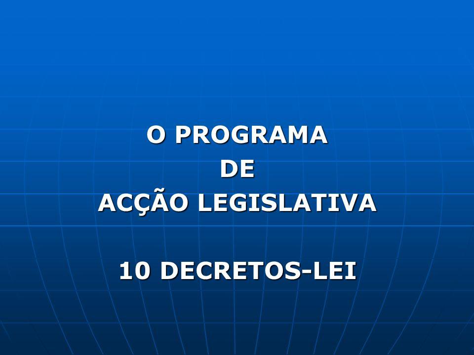 O PROGRAMA DE ACÇÃO LEGISLATIVA 10 DECRETOS-LEI