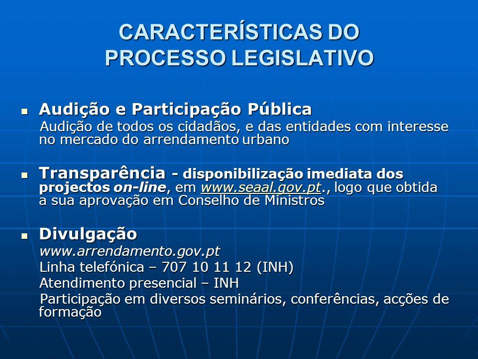 CARACTERÍSTICAS DO PROCESSO LEGISLATIVO