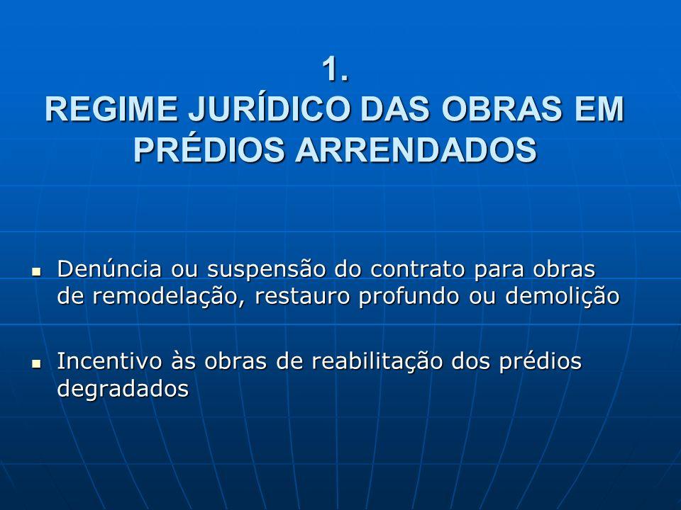 1. REGIME JURÍDICO DAS OBRAS EM PRÉDIOS ARRENDADOS