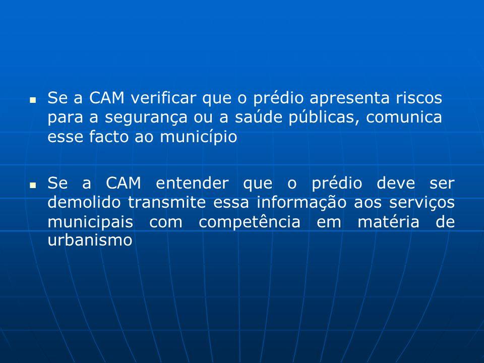 Se a CAM verificar que o prédio apresenta riscos para a segurança ou a saúde públicas, comunica esse facto ao município