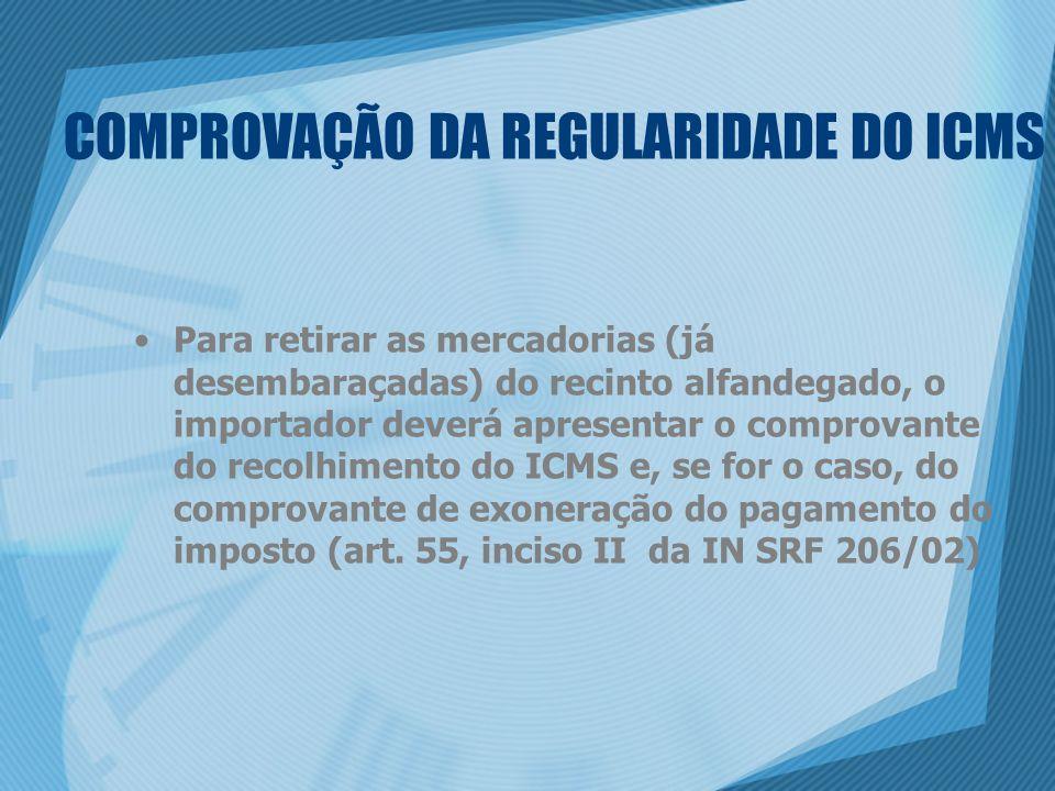 COMPROVAÇÃO DA REGULARIDADE DO ICMS