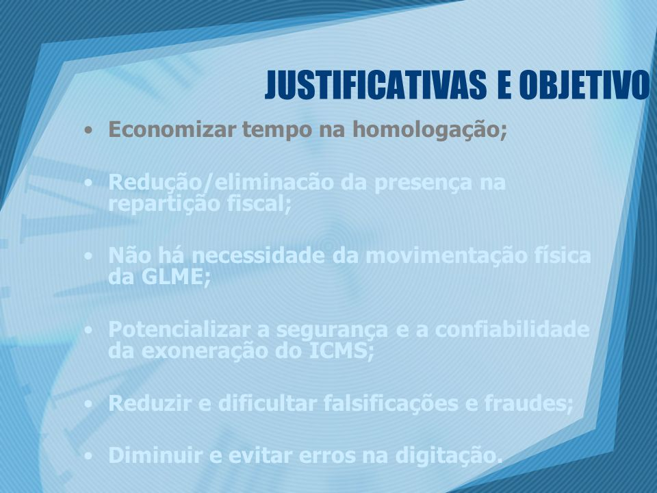 JUSTIFICATIVAS E OBJETIVO
