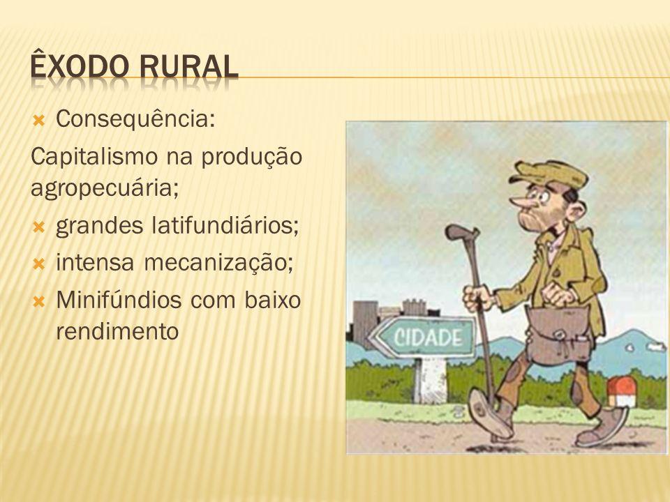 Êxodo rural Consequência: Capitalismo na produção agropecuária;