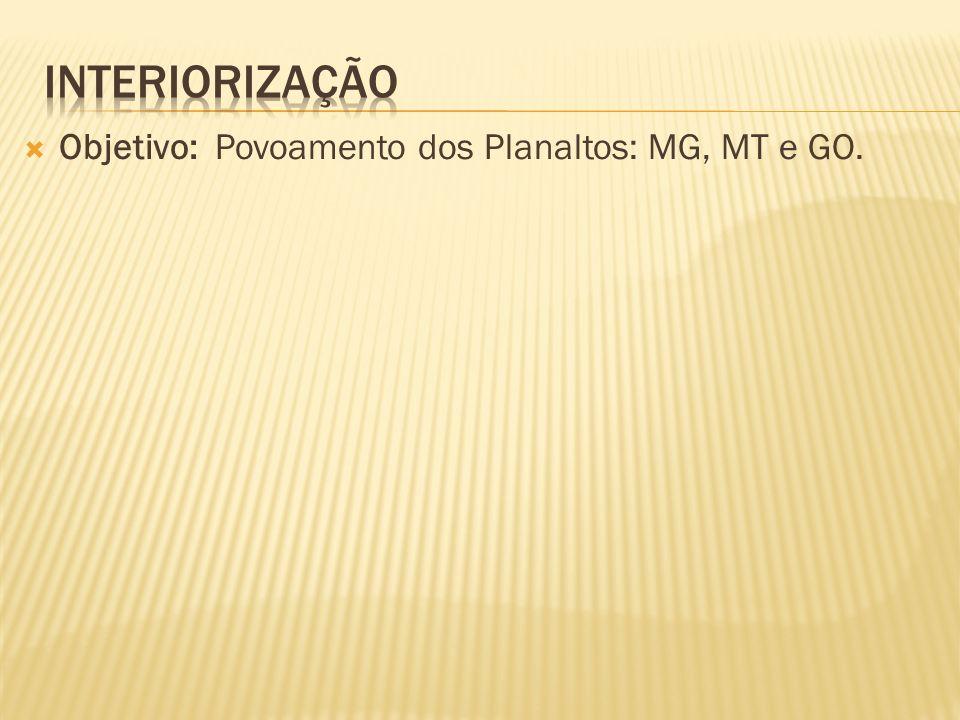 interiorização Objetivo: Povoamento dos Planaltos: MG, MT e GO.