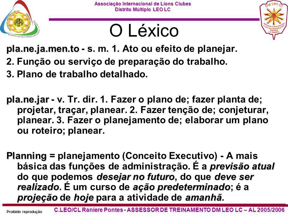 O Léxico pla.ne.ja.men.to - s. m. 1. Ato ou efeito de planejar.