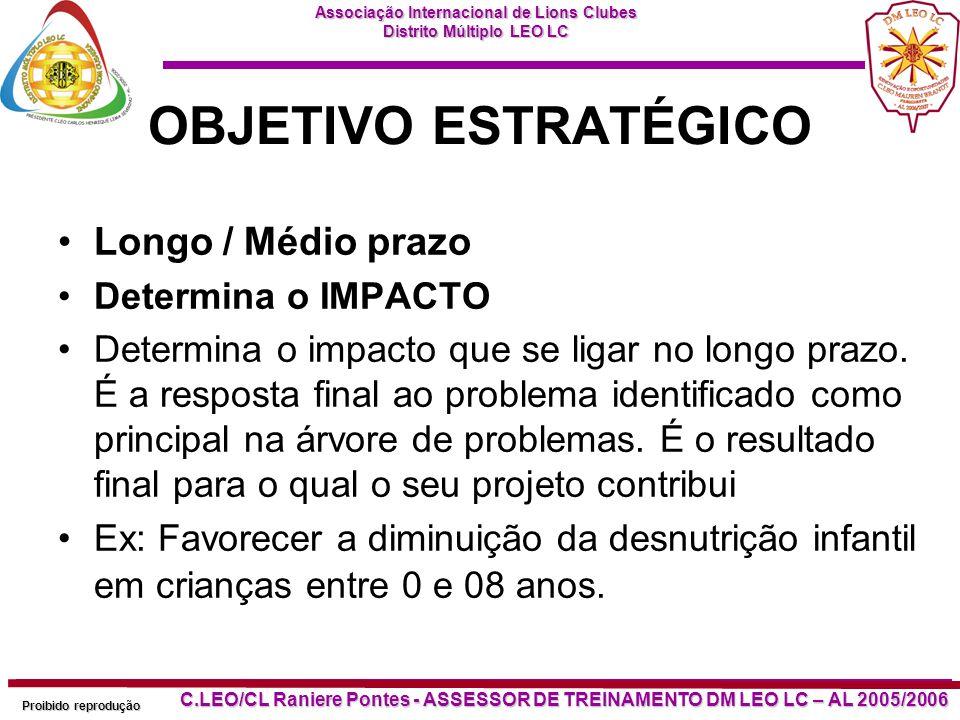 OBJETIVO ESTRATÉGICO Longo / Médio prazo Determina o IMPACTO