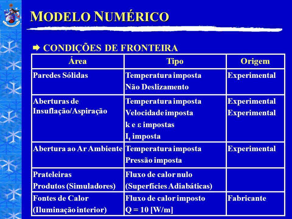 MODELO NUMÉRICO CONDIÇÕES DE FRONTEIRA Área Tipo Origem