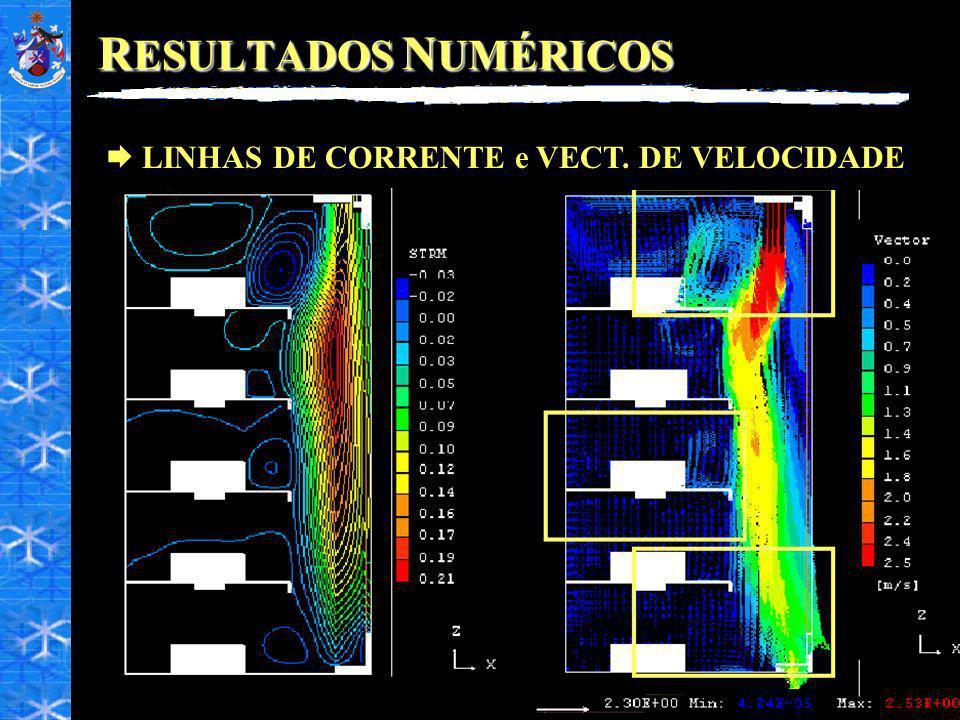 RESULTADOS NUMÉRICOS LINHAS DE CORRENTE e VECT. DE VELOCIDADE