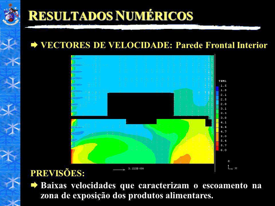 RESULTADOS NUMÉRICOS VECTORES DE VELOCIDADE: Parede Frontal Interior