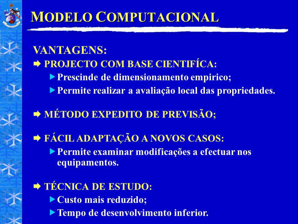 MODELO COMPUTACIONAL VANTAGENS: PROJECTO COM BASE CIENTIFÍCA: