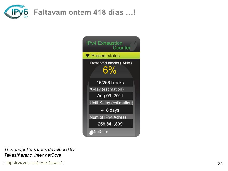 Faltavam ontem 418 dias …! This gadget has been developed by Takashi arano, Intec netCore