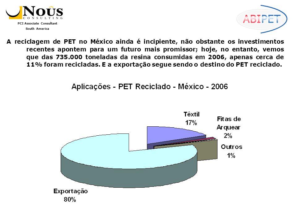 A reciclagem de PET no México ainda é incipiente, não obstante os investimentos recentes apontem para um futuro mais promissor; hoje, no entanto, vemos que das 735.000 toneladas da resina consumidas em 2006, apenas cerca de 11% foram recicladas.