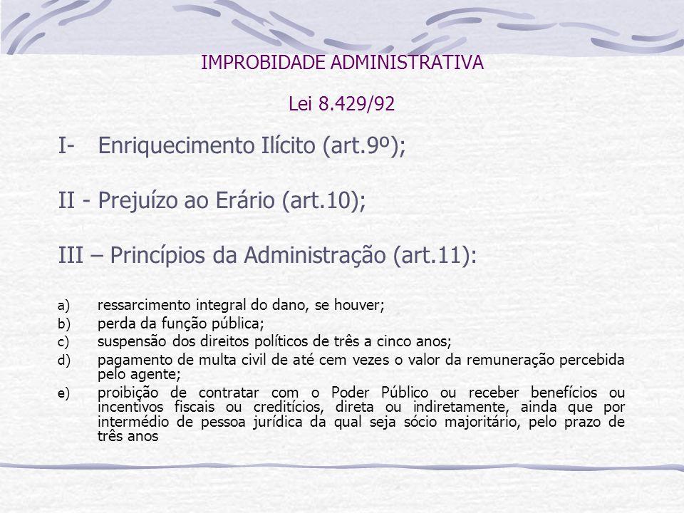 IMPROBIDADE ADMINISTRATIVA Lei 8.429/92