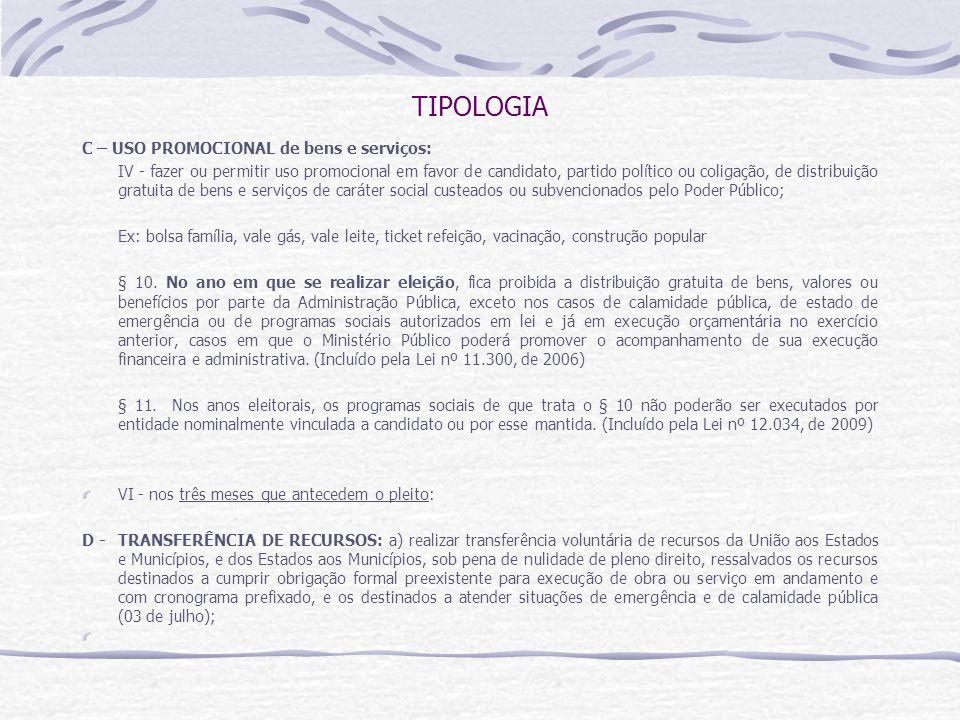 TIPOLOGIA C – USO PROMOCIONAL de bens e serviços: