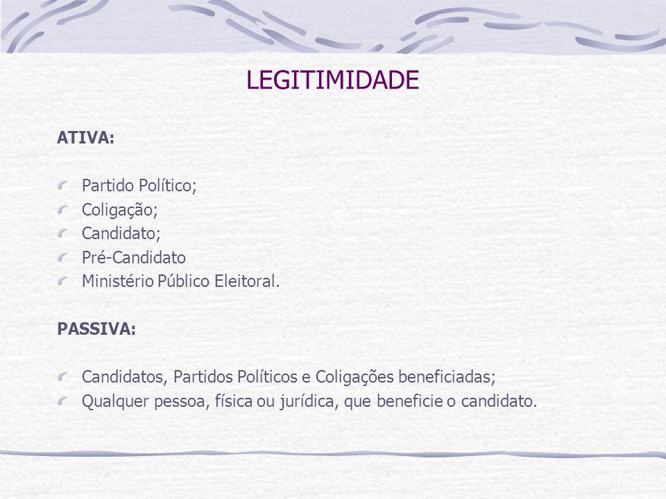 LEGITIMIDADE ATIVA: Partido Político; Coligação; Candidato;
