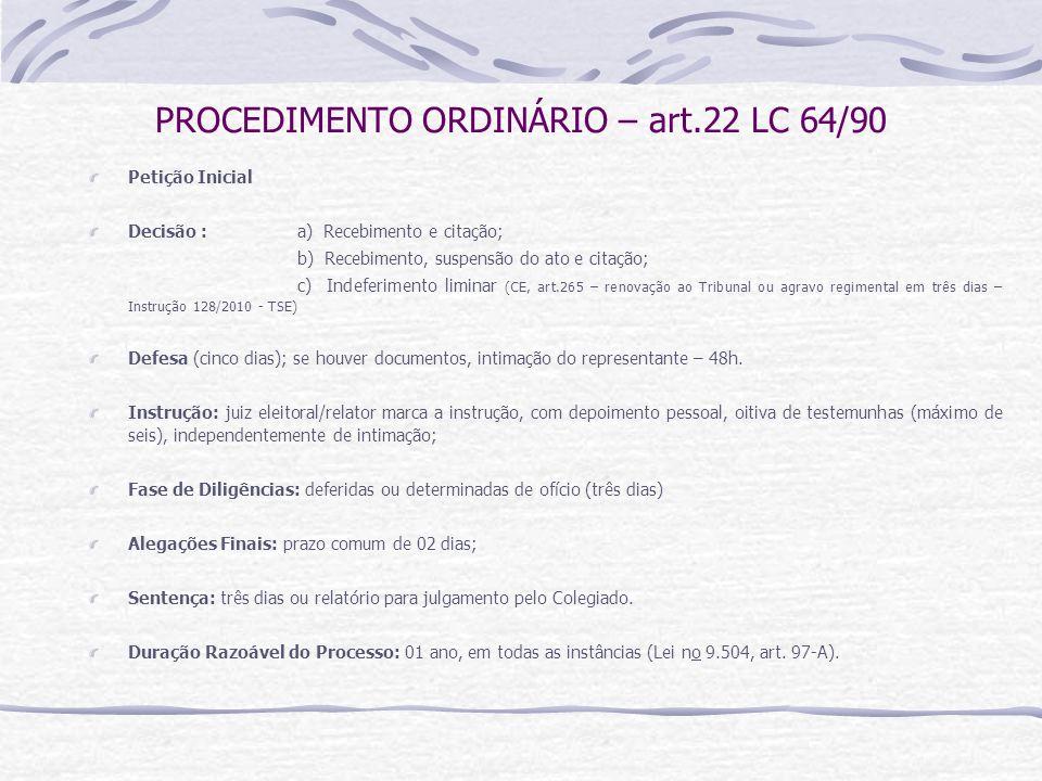 PROCEDIMENTO ORDINÁRIO – art.22 LC 64/90