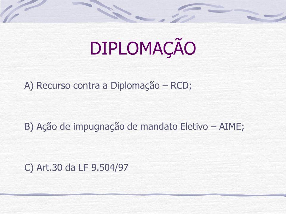 DIPLOMAÇÃO A) Recurso contra a Diplomação – RCD;
