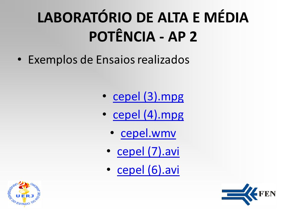 LABORATÓRIO DE ALTA E MÉDIA POTÊNCIA - AP 2