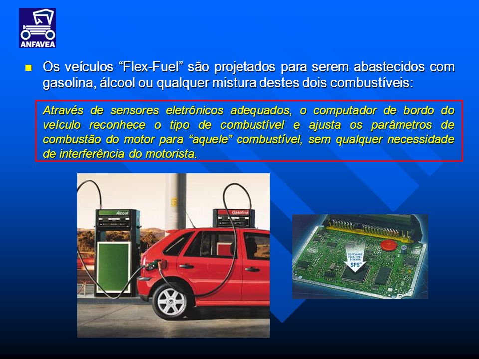 Os veículos Flex-Fuel são projetados para serem abastecidos com gasolina, álcool ou qualquer mistura destes dois combustíveis: