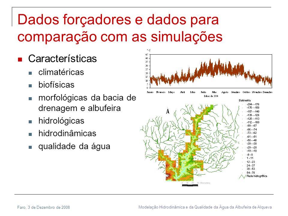 Dados forçadores e dados para comparação com as simulações