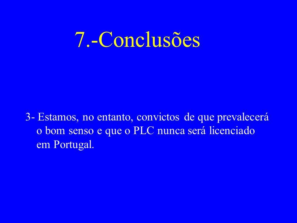 7.-Conclusões 3- Estamos, no entanto, convictos de que prevalecerá o bom senso e que o PLC nunca será licenciado em Portugal.