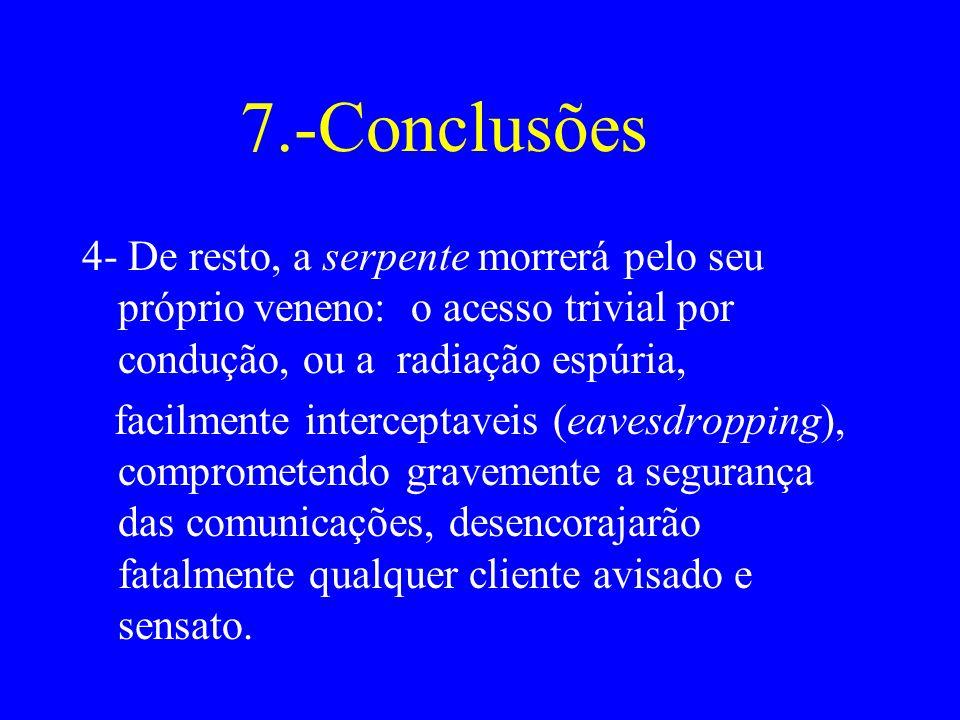 7.-Conclusões 4- De resto, a serpente morrerá pelo seu próprio veneno: o acesso trivial por condução, ou a radiação espúria,
