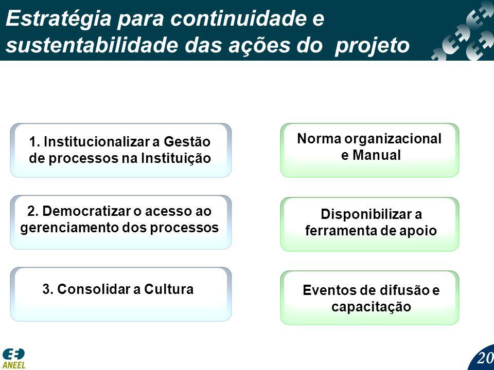 Estratégia para continuidade e sustentabilidade das ações do projeto