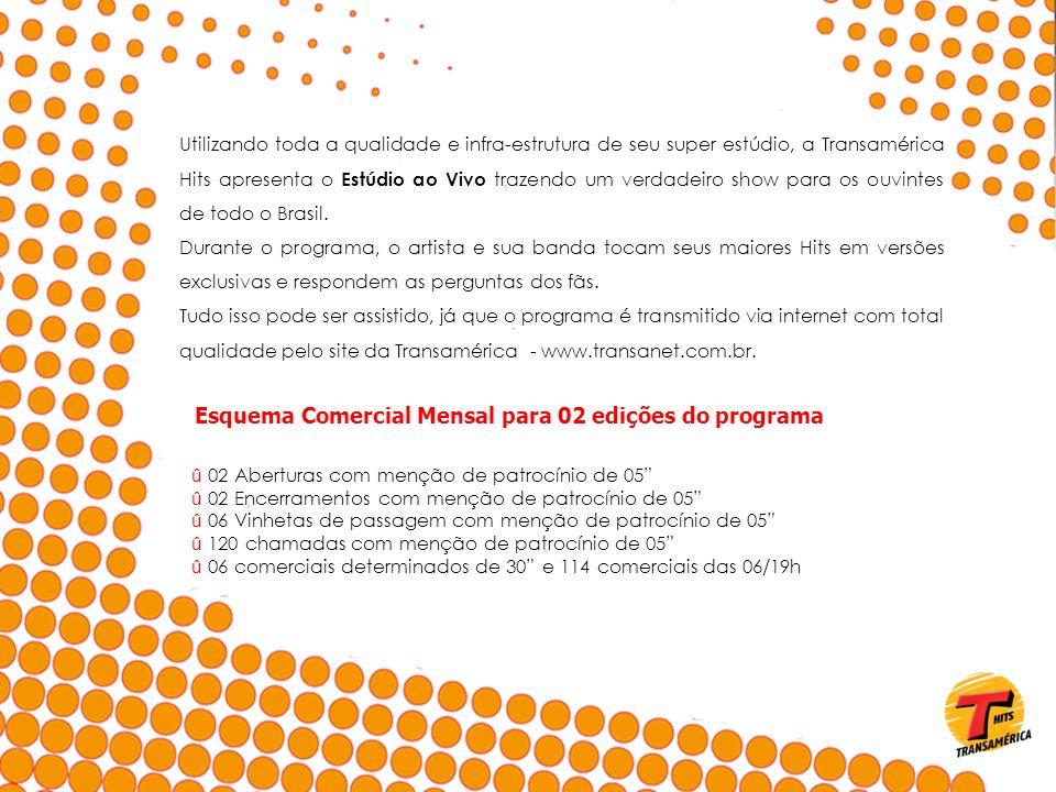 Esquema Comercial Mensal para 02 edições do programa