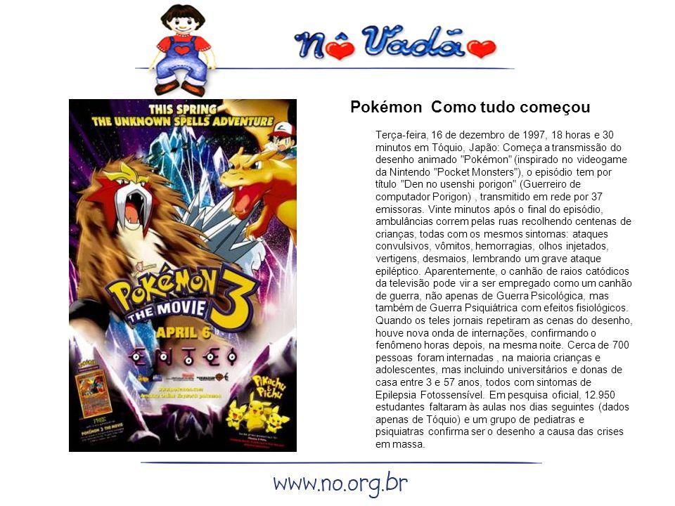 Pokémon Como tudo começou Terça-feira, 16 de dezembro de 1997, 18 horas e 30 minutos em Tóquio, Japão: Começa a transmissão do desenho animado Pokémon (inspirado no videogame da Nintendo Pocket Monsters ), o episódio tem por título Den no usenshi porigon (Guerreiro de computador Porigon) , transmitido em rede por 37 emissoras.
