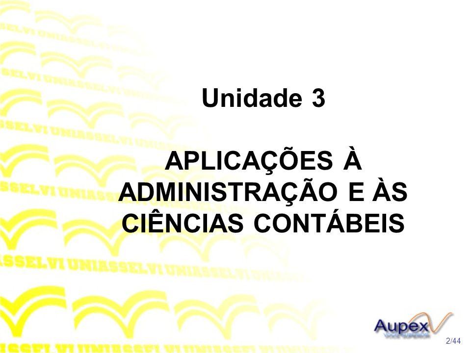 Unidade 3 APLICAÇÕES À ADMINISTRAÇÃO E ÀS CIÊNCIAS CONTÁBEIS