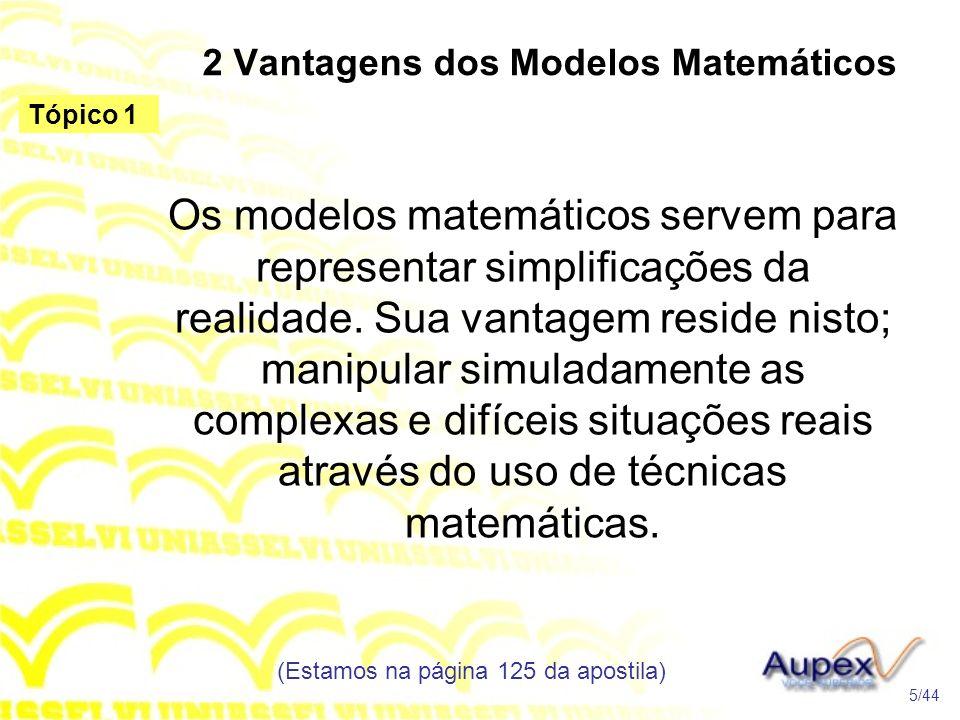 2 Vantagens dos Modelos Matemáticos