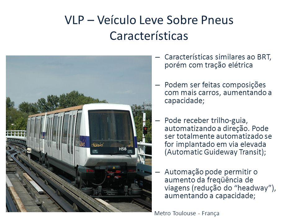 VLP – Veículo Leve Sobre Pneus Características