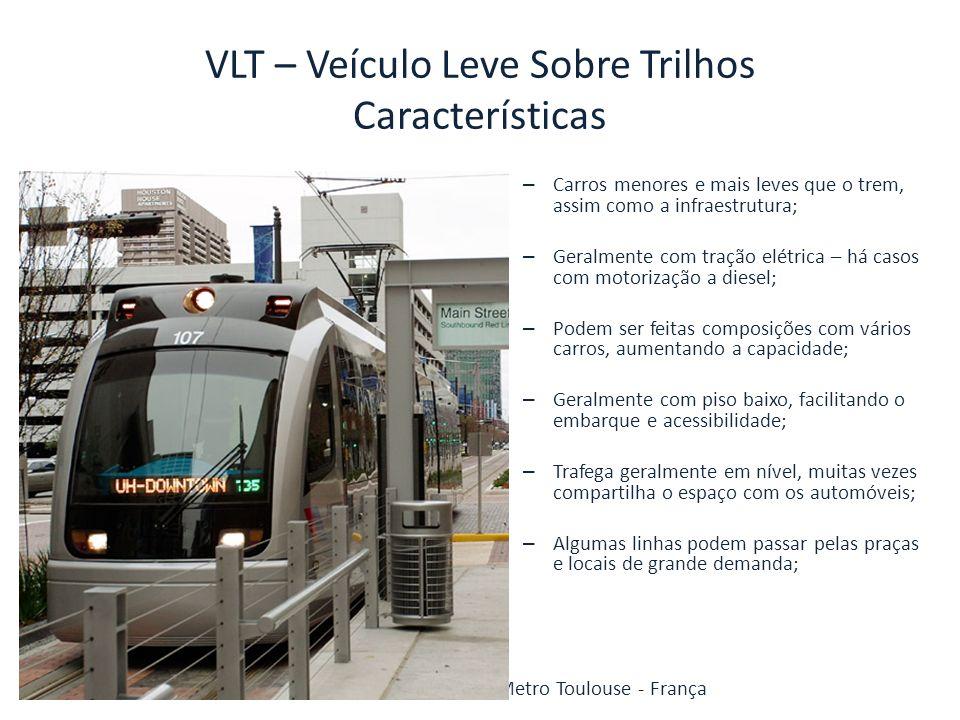 VLT – Veículo Leve Sobre Trilhos Características