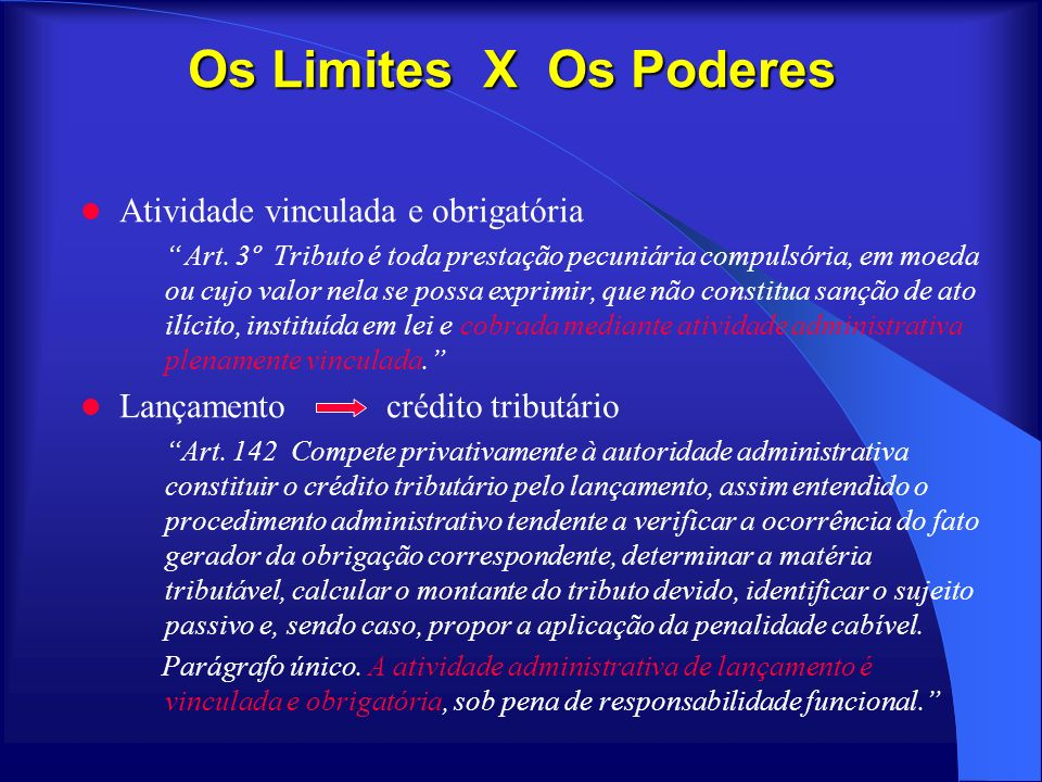 Os Limites X Os Poderes Atividade vinculada e obrigatória
