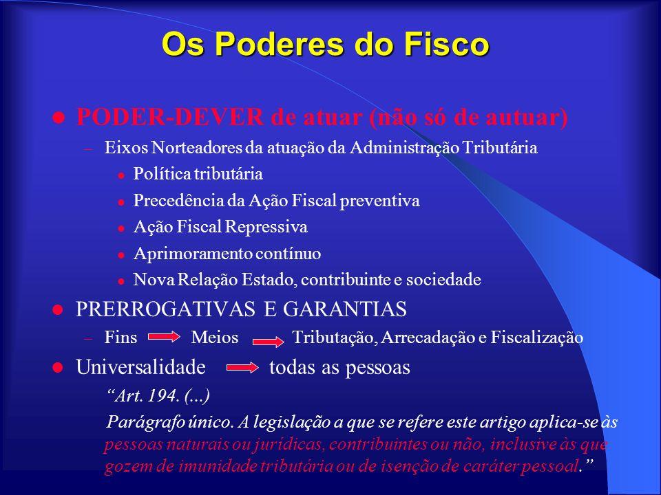 Os Poderes do Fisco PODER-DEVER de atuar (não só de autuar)