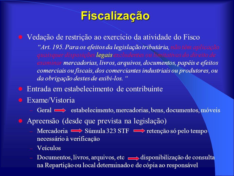 Fiscalização Vedação de restrição ao exercício da atividade do Fisco