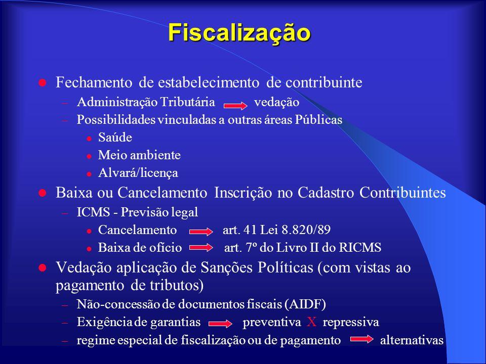 Fiscalização Fechamento de estabelecimento de contribuinte