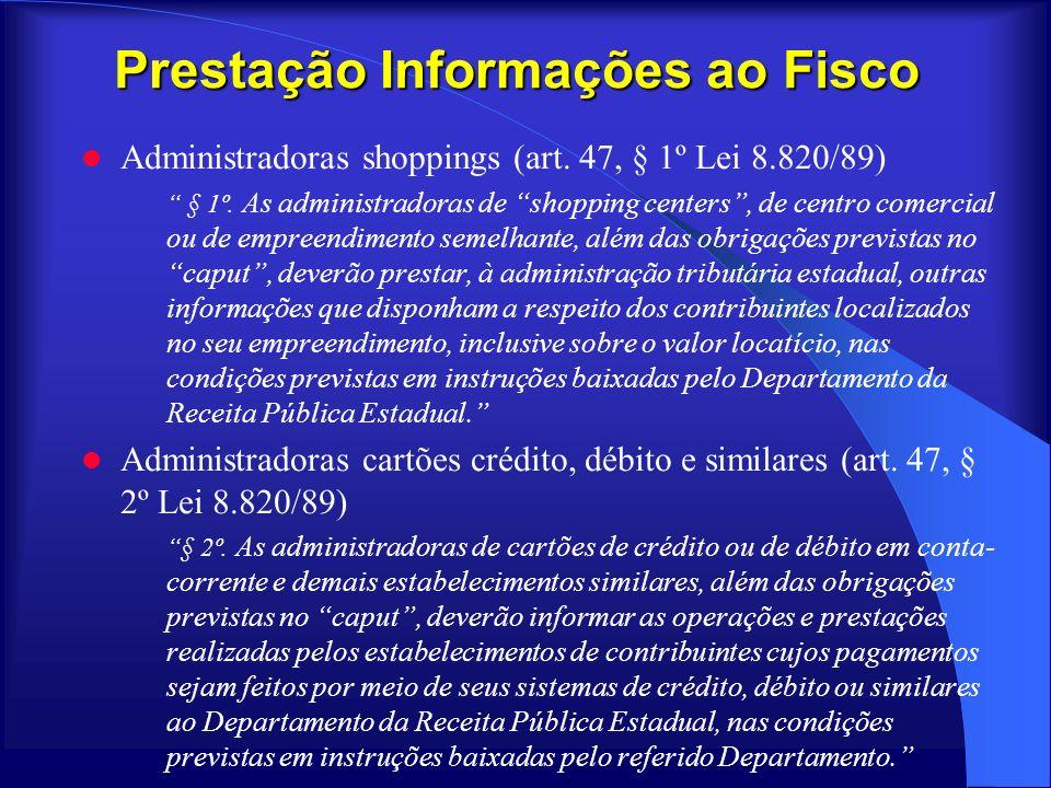Prestação Informações ao Fisco