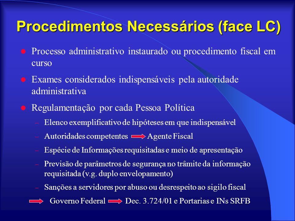 Procedimentos Necessários (face LC)