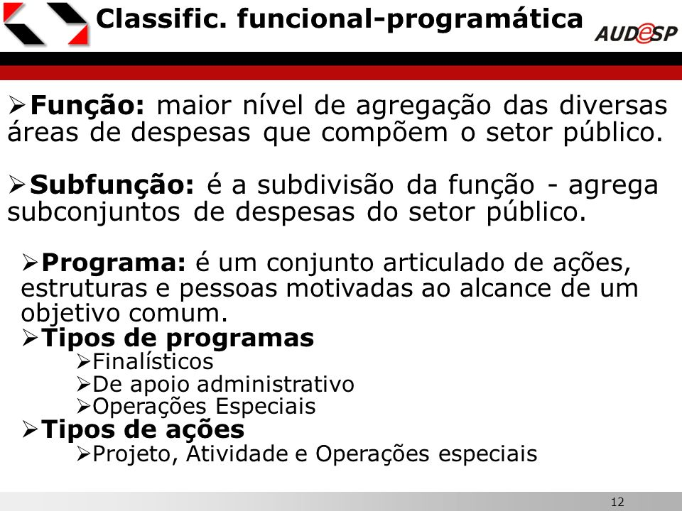 Classific. funcional-programática