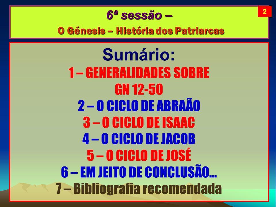 6ª sessão – O Génesis – História dos Patriarcas
