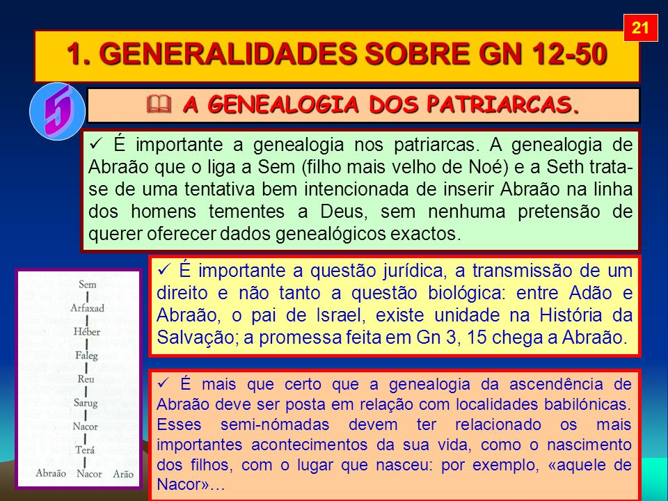 1. GENERALIDADES SOBRE GN 12-50 A GENEALOGIA DOS PATRIARCAS.