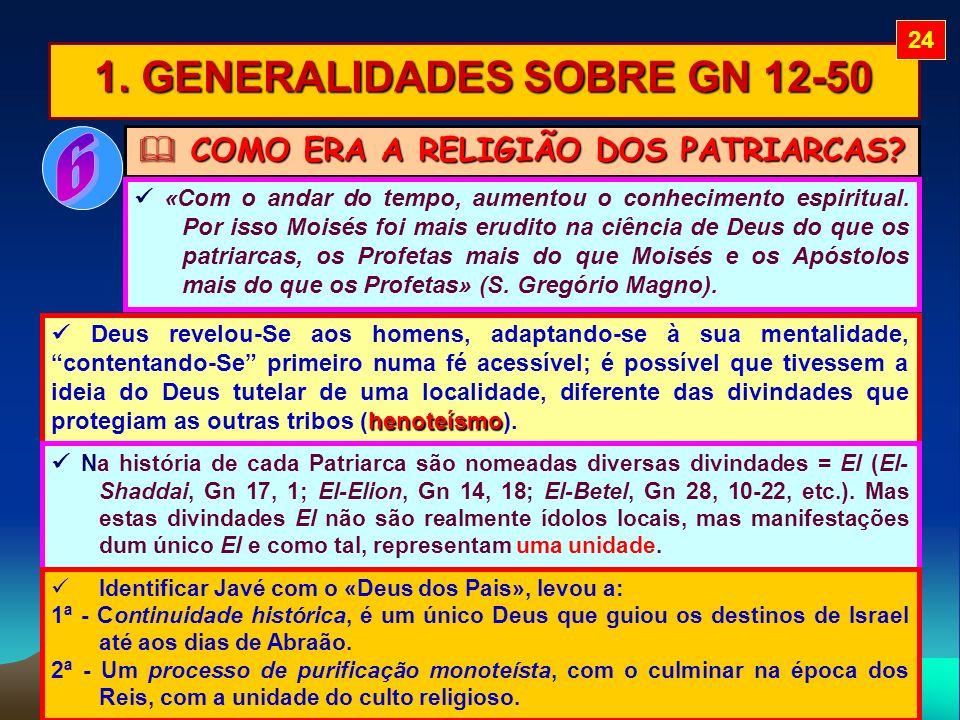 1. GENERALIDADES SOBRE GN 12-50 COMO ERA A RELIGIÃO DOS PATRIARCAS