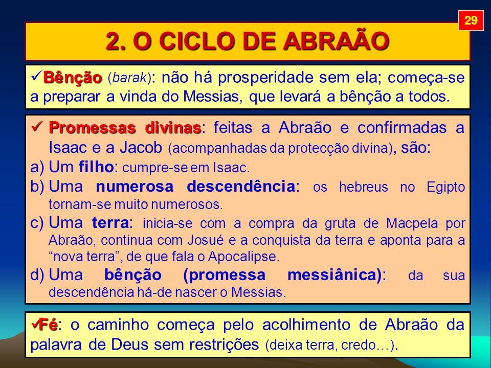 29 2. O CICLO DE ABRAÃO. Bênção (barak): não há prosperidade sem ela; começa-se a preparar a vinda do Messias, que levará a bênção a todos.